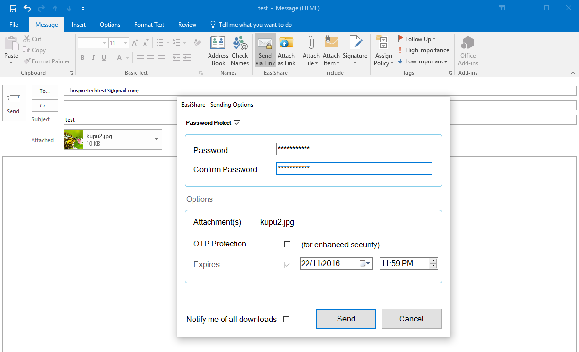 Easishare Outlook Plugin password protect zip file give